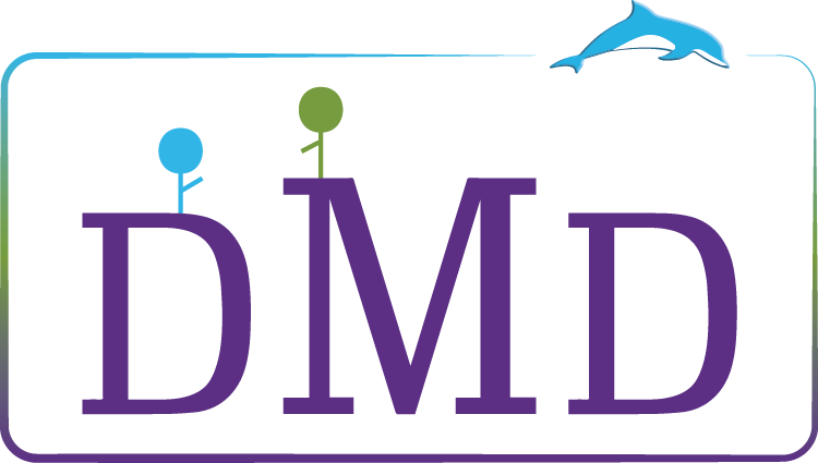 logo with let letters D, M, D and a dolphin
