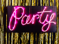 "sign with stylish type for ""party"""